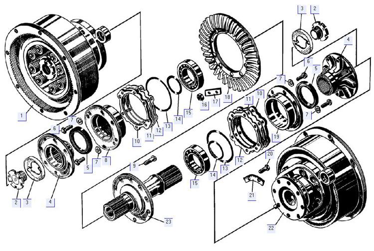 Главная передача с бортовыми фрикционами 24-16-1-01СП; 64-16-1СП
