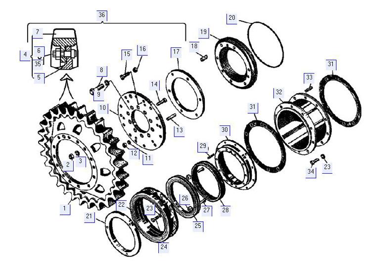 Детали бортового редуктора (ведущее колесо, лабиринтное уплотнение, проставка)
