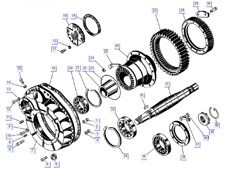 Детали бортового редуктора (кожух, полуось, подшипники, ступица, шестерни)