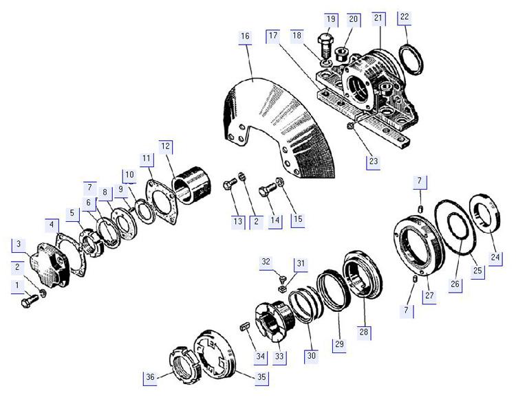 Детали бортового редуктора (концевой подшипник, крышки уплотнения)