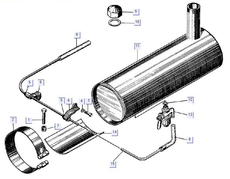 Установка бензобачка пускового двигателя