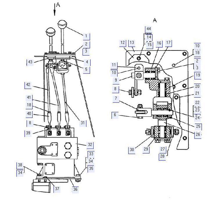 Управление гидрораспределителем (для трактора с ГМТ) 64-82-73СП; 64-82-73-01СП