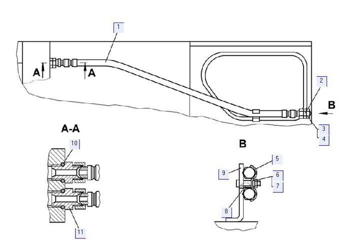 Установка рукавов управления рыхлительным оборудованием