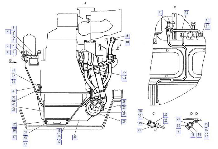 Установка подогревателя (для трактора с пусковым двигателем)