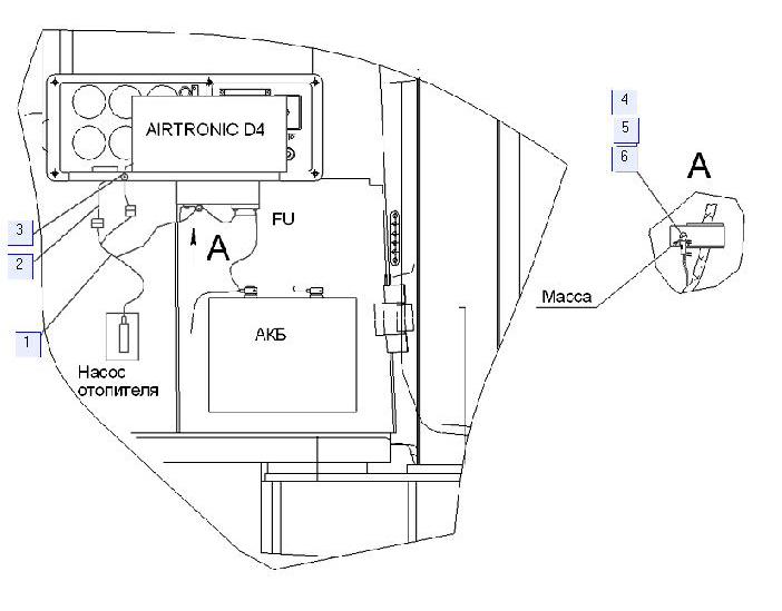 Электрооборудование установки отопителя