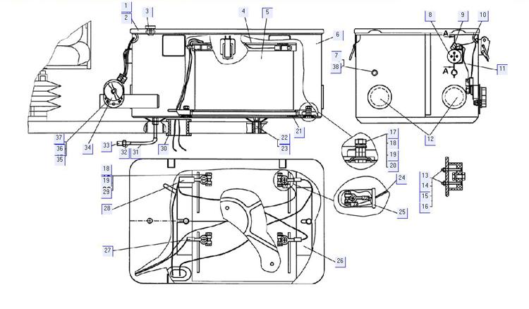 Установка аккумуляторных батарей (для трактора с МТ с пусковым двигателем)