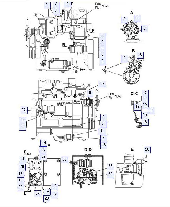 Электрооборудование дизеля (с электростартерной системой пуска)