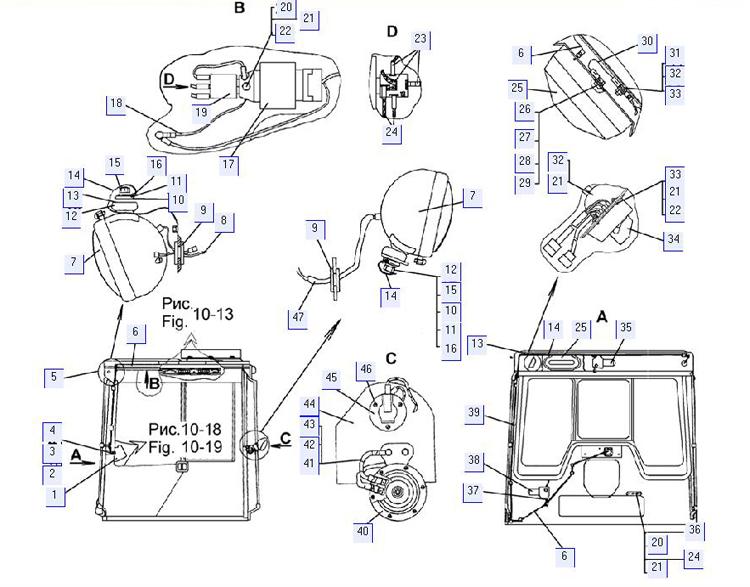 Электрооборудование кабины (для трактора с механической трансмисией)