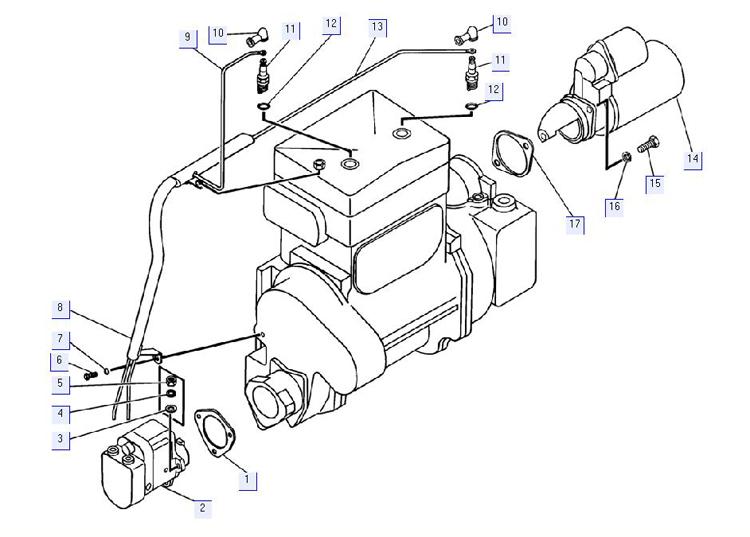 Установка электрооборудования пускового двигателя