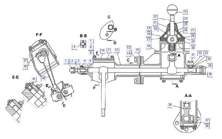 Механизм переключения (для болотоходного трактора) 20-12-131СП; 20-12-132СП