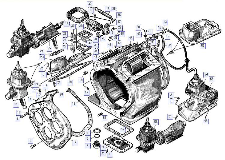 Корпус коробки передач с крышками и механизмами переключения