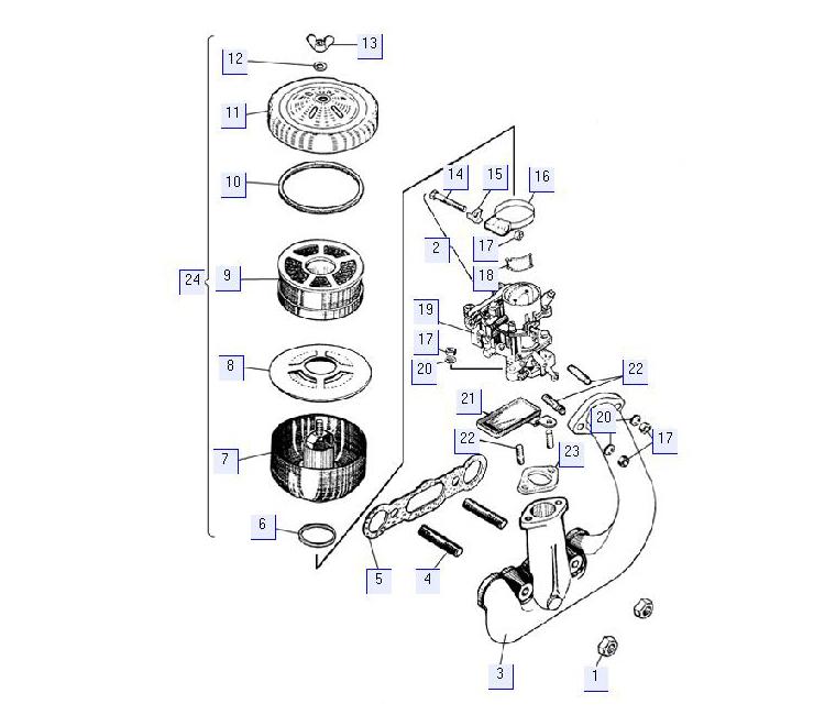 Установка воздухоочистителя пускового двигателя